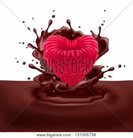 Appetizing raspberry heart dipping into chocolate with splashes