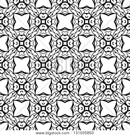 Repeating pattern of lines and swirls on white background.