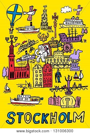A hand drawn cartoon style illustration of Stockholm Sweden, places, people,