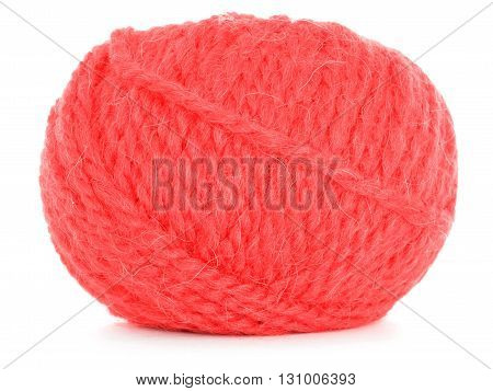 Roll of wool tangled skein isolated on white background