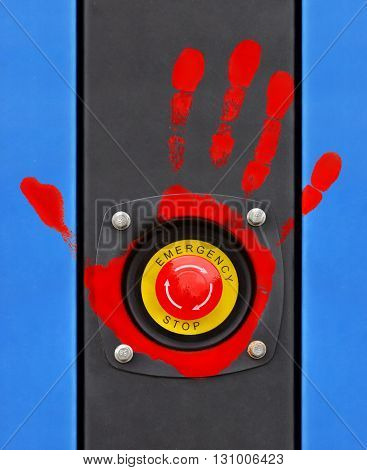 Red imprint of his hand on the button of emergency switching-off of electric power