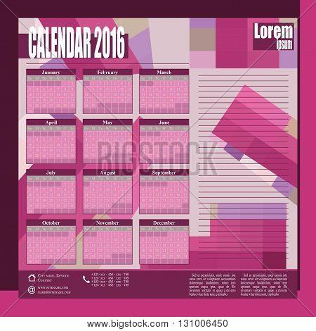 Stylish vector wall calendar 2016 - pink colour