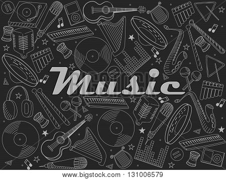 Vector line art Doodle set of cartoon characters and objects music instruments. Chalk illustration