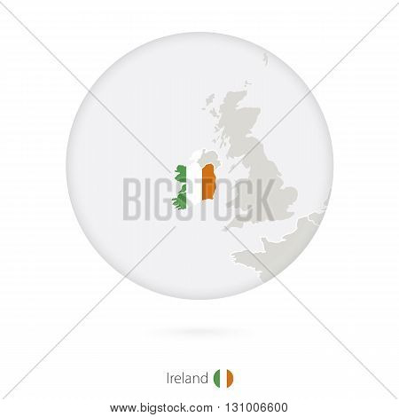 Map Of Ireland And National Flag In A Circle.