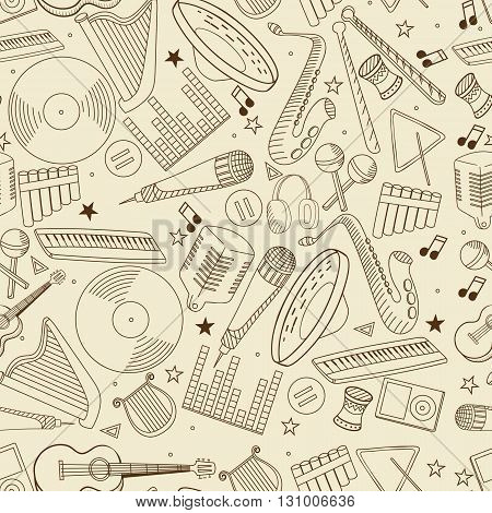 Vector line art Doodle set of cartoon characters and objects music. Seamless retro