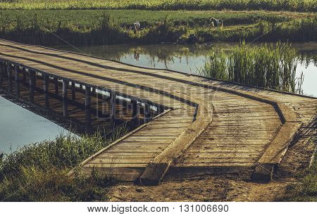 Peaceful summer landscape with old wooden footbridge across a pond in Transylvania region Romania.