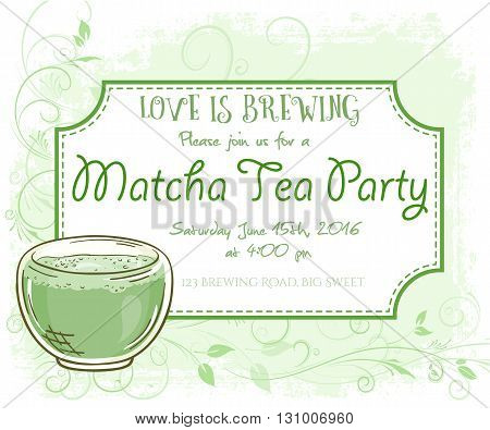 vector hand drawn matcha tea party invitation card, vintage frame, glass and leaves.