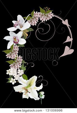 illustration with light orchid and lily curled design isolated on black background