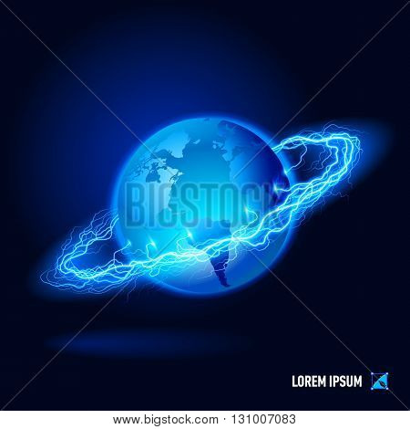 Planet surrounded by a stream of blue energy in the space