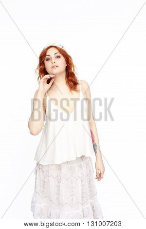 Young Woman posing Isolated On White Background