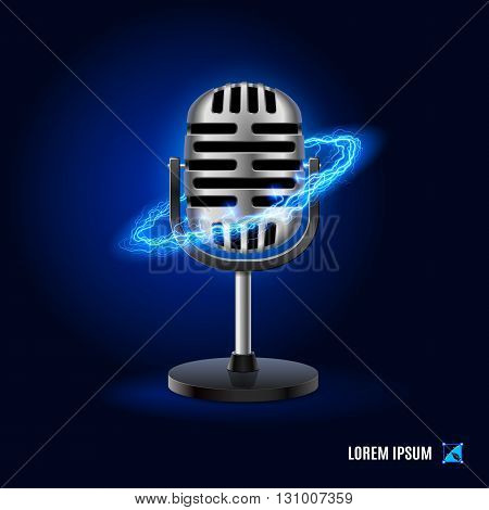 Microphone surrounded by a stream of blue energy in the space