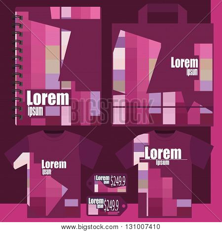 Stylish vector templates - T-shirt, price list, notepad a package - pink