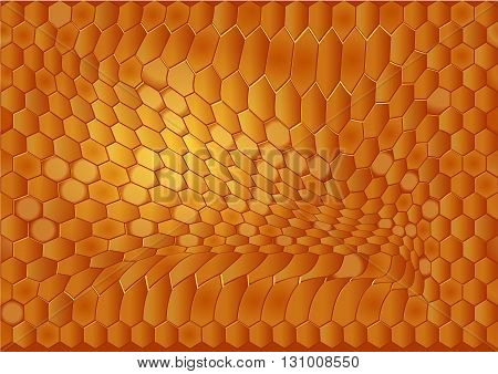abstract beehive background. Close-up of glowing honey comb