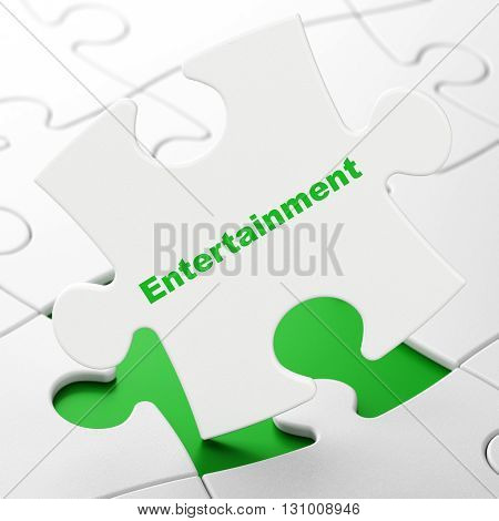 Holiday concept: Entertainment on White puzzle pieces background, 3D rendering