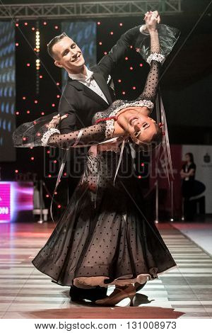 Wroclaw Poland - May 14 2016: Linis Edgars and Eliza Ancane in dance pose during World Dance Sport Federation European Championship Standard Dance on May 14 in Wroclaw Poland