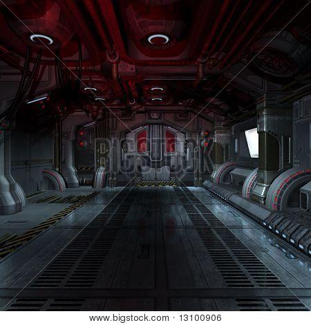 inside a futuristic scifi spaceship 3D rendering