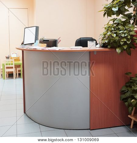 Reception desk in a spa salon, medical center and so on