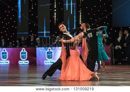 Wroclaw Poland - May 14 2016: Giuseppe Longarinia and Katarzyna Kapral in dance pose during World Dance Sport Federation European Championship Standard Dance on May 14 in Wroclaw Poland