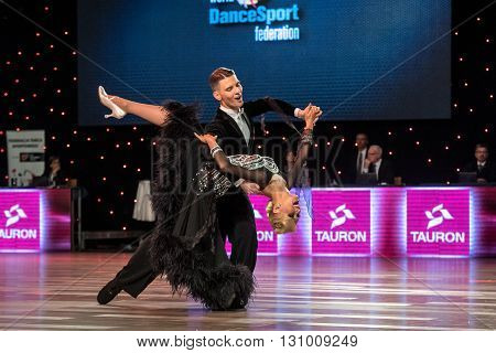 Wroclaw Poland - May 14 2016: Dmitry Zharkov and Olga Kulikova in dance pose during World Dance Sport Federation European Championship Standard Dance on May 14 in Wroclaw Poland