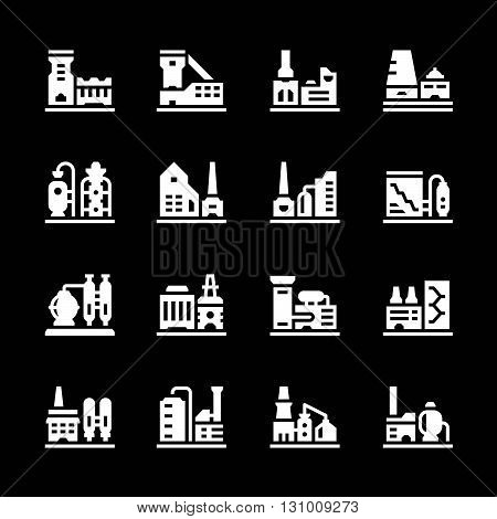 Set icons of factory isolated on black. Vector illustration