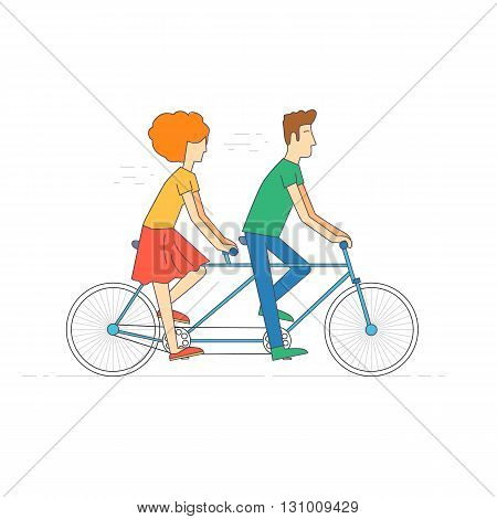Thin line Couple riding tandem bicycle isolated. Walking, sports, traveling. Flat design vector illustration.