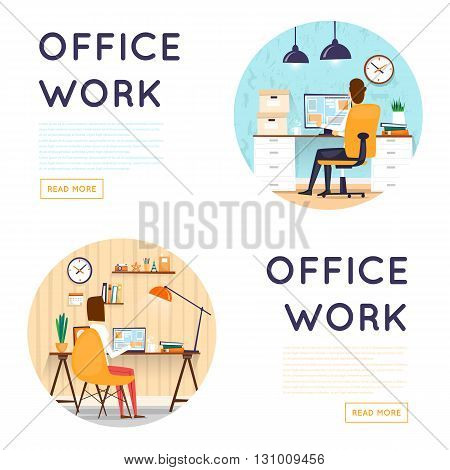 Man and woman sitting at the table and working on the computer. Business, office work, workplace. Composition in lap. Flat design vector illustration.