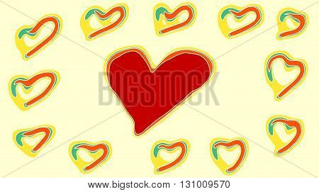 drawing red green and yellow heart with yellow background