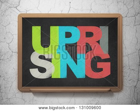 Politics concept: Painted multicolor text Uprising on School board background, 3D Rendering