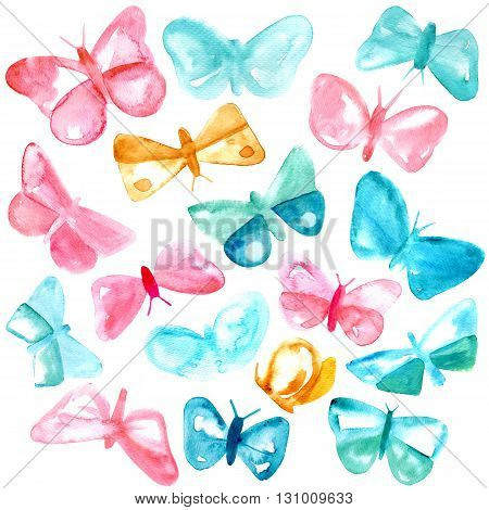 Tender pastel colored pink and teal blue abstract butterflies a watercolor set on white background