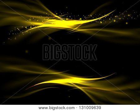 Abstract Background With Golden Lines On A Black Background