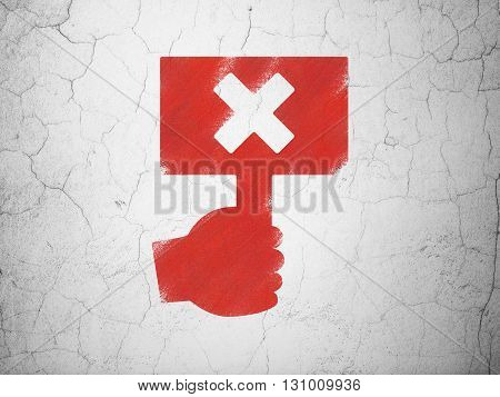 Political concept: Red Protest on textured concrete wall background