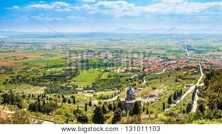 Panoramic view of the Val di Chiana an alluvial valley of central Italy in Tuscany