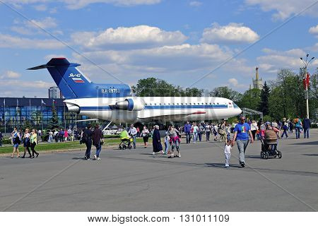 MOSCOW, RUSSIA - MAY 7, 2016: Passenger aircraft Yak-42 at the exhibition in Moscow