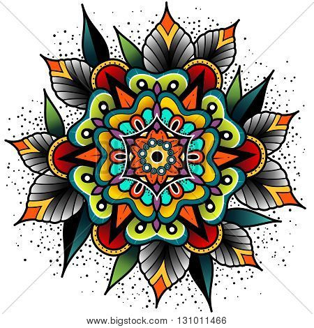 Old school tattoo art flowers for design and decoration. Old school tattoo flower. Vector illustration