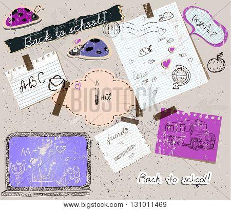 scrapbooking set with school elements. vector illustration EPS10