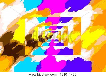 yellow pink blue and orange painting abstract background