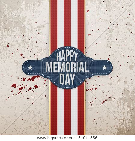 Happy Memorial Day patriotic Banner and Ribbon. National American Holiday Background Template. Vector Illustration.