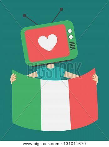 Cartoon Television Holding An Italian Flag