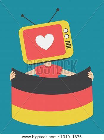 Cartoon Television Holding A German Flag