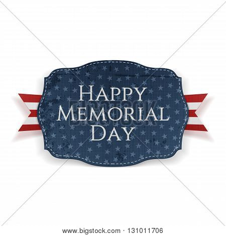 Happy Memorial Day patriotic Sign and Ribbon. National American Holiday Background Template. Vector Illustration.