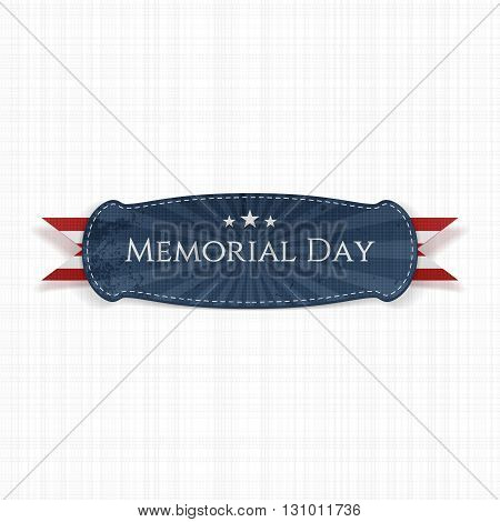 Memorial Day patriotic Banner and Ribbon. National American Holiday Background Template. Vector Illustration.