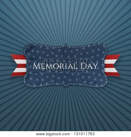 Memorial Day patriotic Label and Ribbon. National American Holiday Background Template. Vector Illustration.