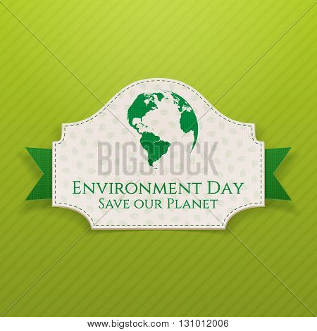 World Environment Day Badge and Ribbon. Ecology Background Template. Vector Illustration.