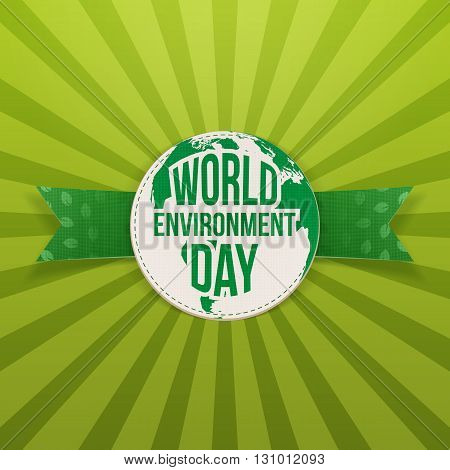 World Environment Day Label and Ribbon. Ecology Background Template. Vector Illustration.
