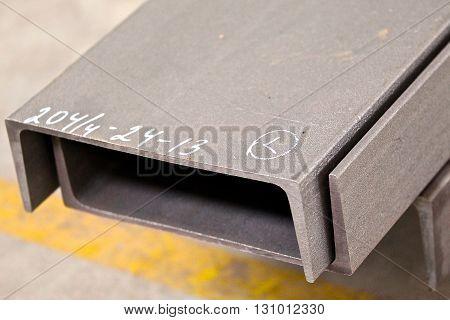 metal profile channel lies in bundles of stock