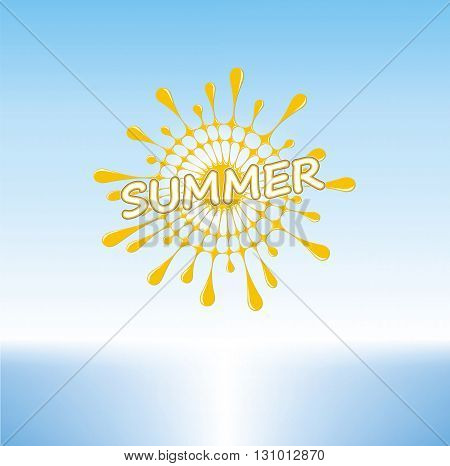 Summer Sunny Day on a Tropical Beach, Stylized Sun, Vector Graphics