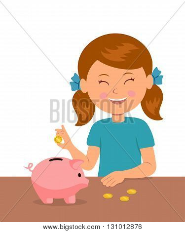 Cute little girl standing at the table puts coins in a piggy bank and dreams of buy something. The concept of saving money baby.