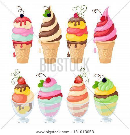 Vector illustration set of isolated ice cream and frozen yogurt on the white background. eps10