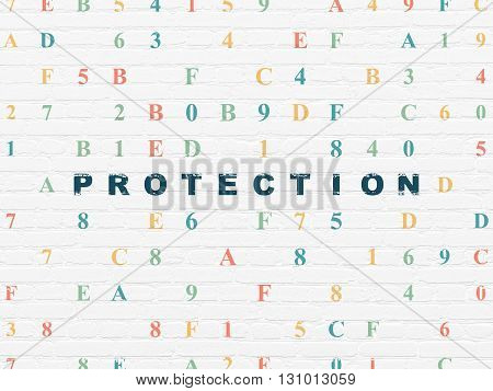 Protection concept: Painted blue text Protection on White Brick wall background with Hexadecimal Code