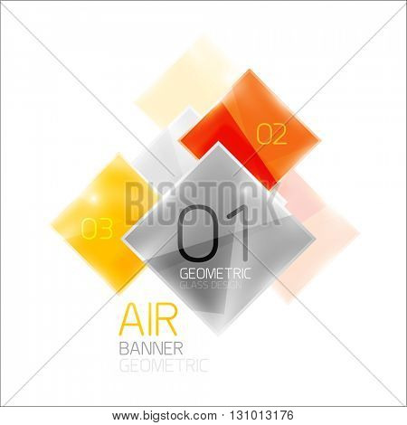 Glass square banner. Modern geometric design with light effects